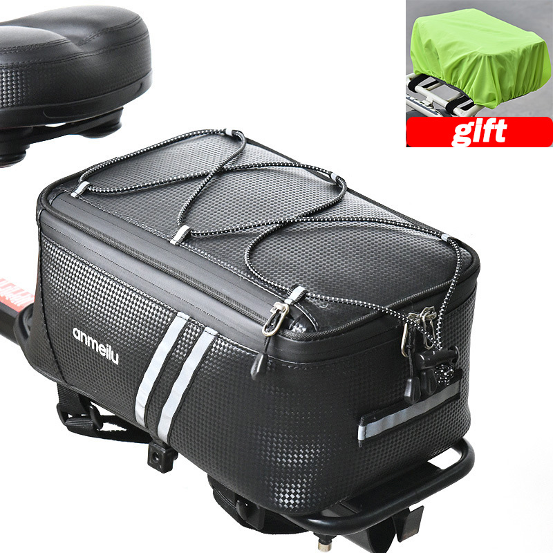 8L Bicycle Bike Rear Seat Bag Commuter Bag Waterproof Bike Rack Bag Rain Cover Bike Accessories