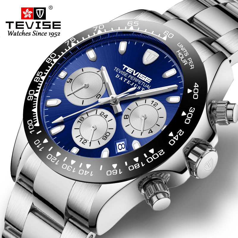 Automatic Mechanical Watch Men Stainless steel Business Wristwatch for men Chronograph Mens Watches Relogio Masculino Tevise