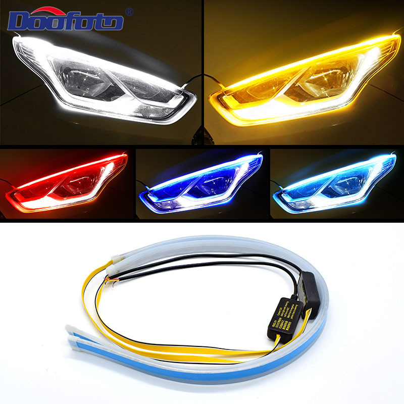 Doofoto 2x Car DRL LED Daytime Running Light Turn Signal Controller Flexible Strip Super Bright