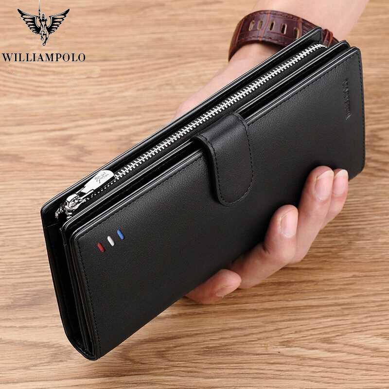Willianmpolo-cartera larga de cuero genuino para hombre, cartera negra de moda para tarjetas de crédito, dinero grande, bolso de cuero de vaca con cremallera