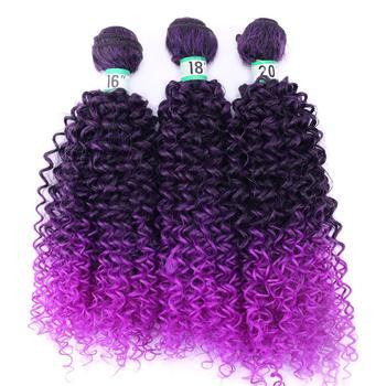 Angie, два тона, черный-фиолетовый, афро кудрявые волосы, плетение, низкая цена, синтетические волосы для наращивания, Омбре, пучок волос