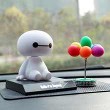 Cartoon Plastic Baymax Robot Shaking Head Figure Car Ornaments Auto Interior Decorations Big Hero Doll Toys Ornament Accessories 6 inch 16cm big hero 6 baymax robot action figure cartoon movie baymax removable armor 2015 new holiday gift kids toys