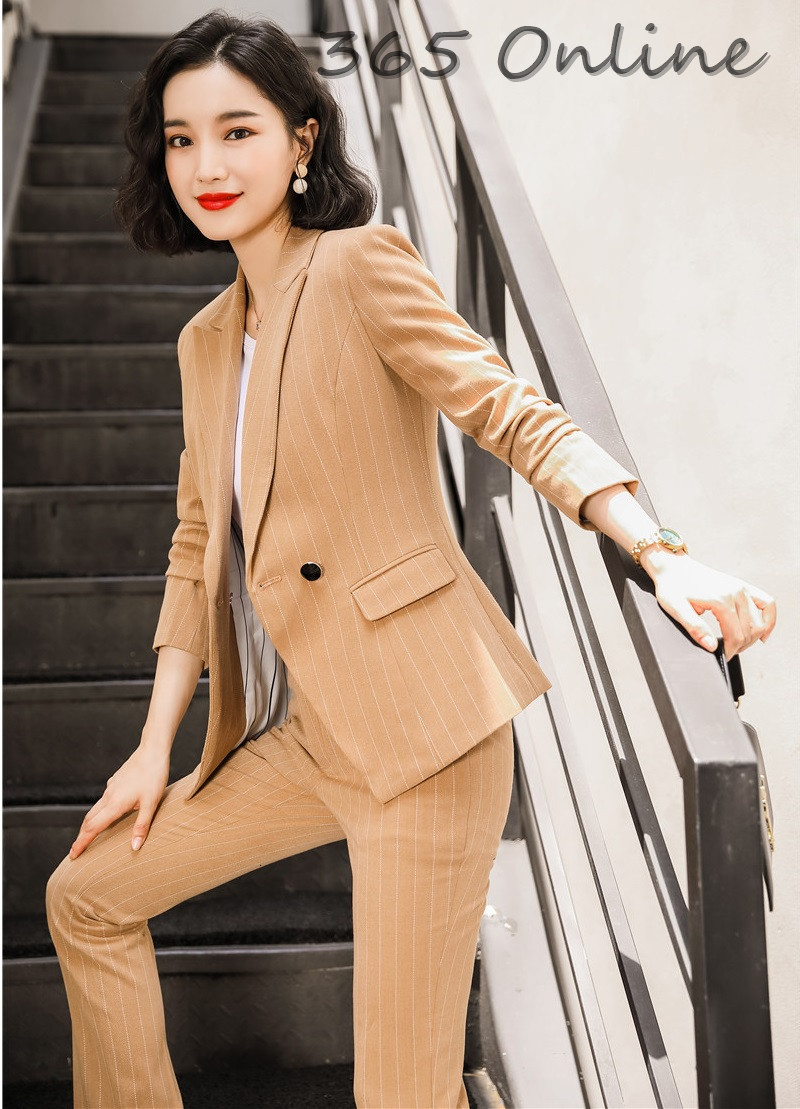 Mode rayé haute qualité tissu formel femmes d'affaires costumes avec pantalons et vestes manteau automne hiver OL Styles Blazers
