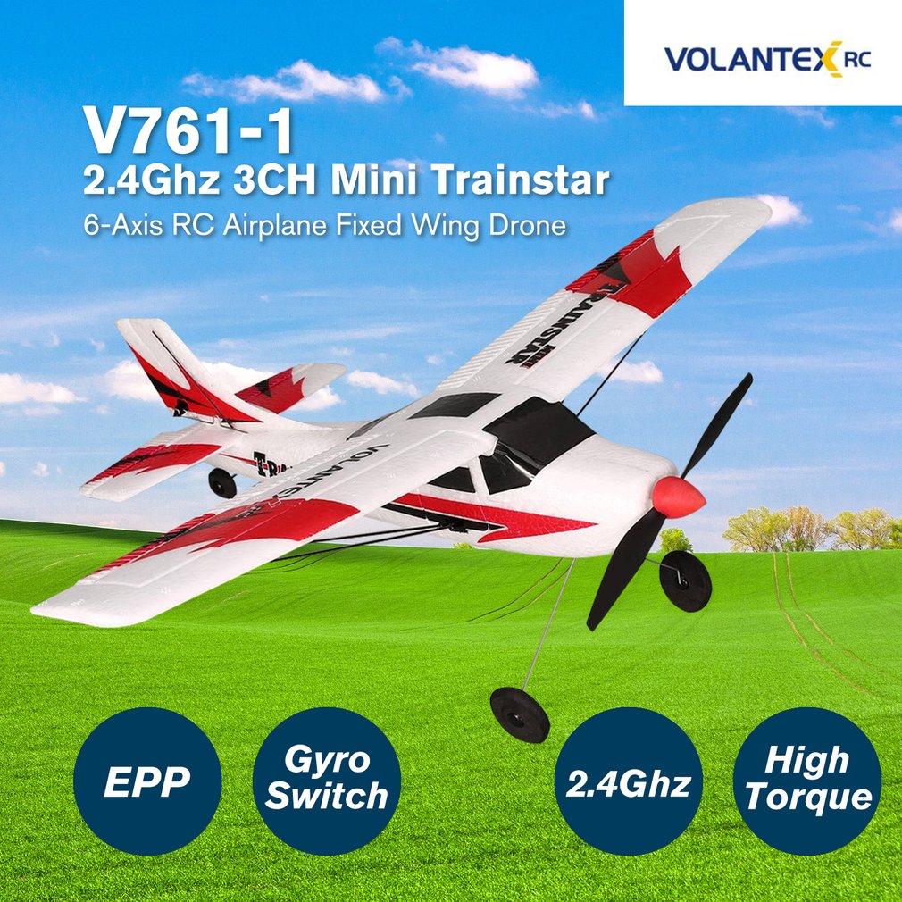 VOLANTEX V761-1 2 4Ghz 3CH Mini Trainstar 6-Axis Remote Control RC Airplane Fixed Wing Drone Plane RTF for Kids Gift Present