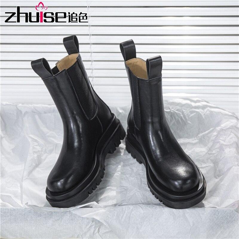 Кожаные дымчатые ботинки; Детские ботинки «Челси» на толстой подошве; Сезон осень зима; Ботинки Martin; Женская обувь|Полусапожки|   | АлиЭкспресс - Женская обувь