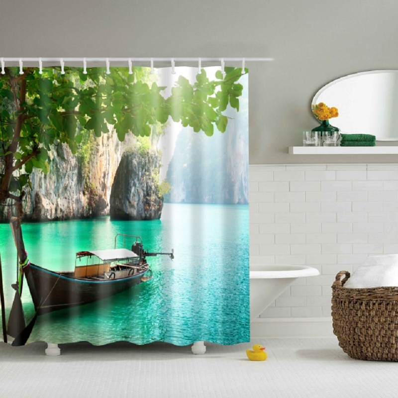 Bamboo Forest Trees Landscape Printed 3d Bath Curtains Waterproof Polyester Fabric Washable Bathroom Shower Curtain