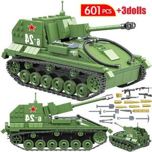 Image 5 - 601 قطعة الاتحاد السوفياتي العسكري SU 76M دبابات اللبنات خزان العسكرية في كتل الجيش الجندي سلاح الطوب مجموعات ألعاب تعليمية
