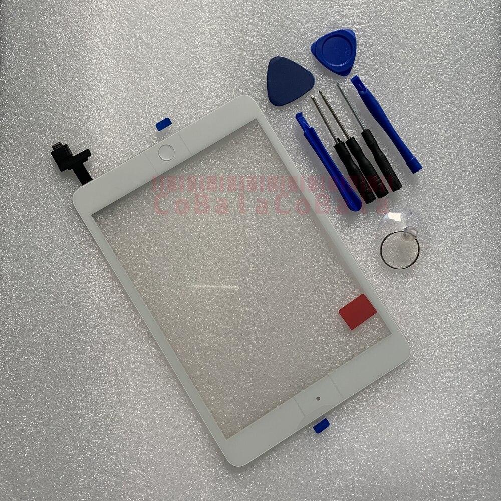 Сенсорный экран для iPad Mini 1 A1432 A1454 A1455, Mini 2 A1489 A1490 A1491, дигитайзер, сенсорное стекло + кнопка + Замена Tesa, 1 шт.