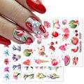 Harunouta 1 лист ногтей Стикеры нейл-арта украшения летние цветы Переводные картинки с бабочками, переводятся с помощью воды ползунки украшения