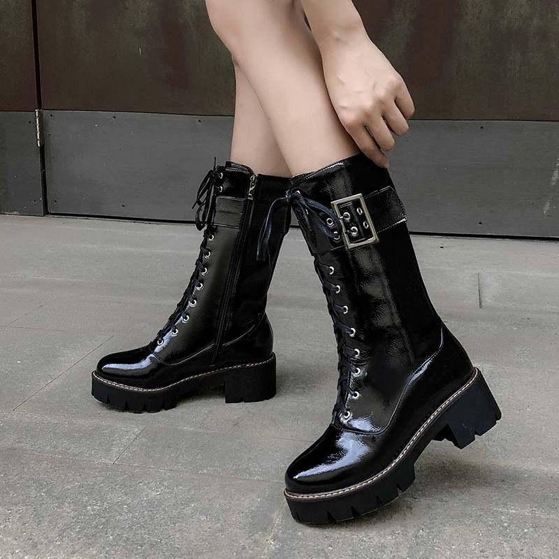 Black Patent Pu Mid Calf Square High Heel Gothic Shoes Punk Platform Heeled Rock Punk Goth Motorcycle Boots Winter 2019