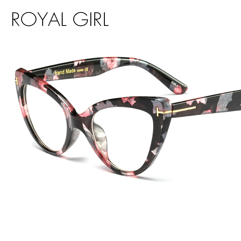 Royal Girl Retro Cat Eye Glasses Women Accessories Clear Lens Gift Woman Eyeglasses Optical Cat Frame Glasses Stand Ss016