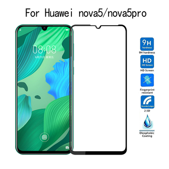 100Pcs Full Coverage Tempered Glass For Huawei Nova 5 5T 5i Pro Nova 4 4E Nova 3 Lite 3i 3E 2i Screen Protector Full Glue Film
