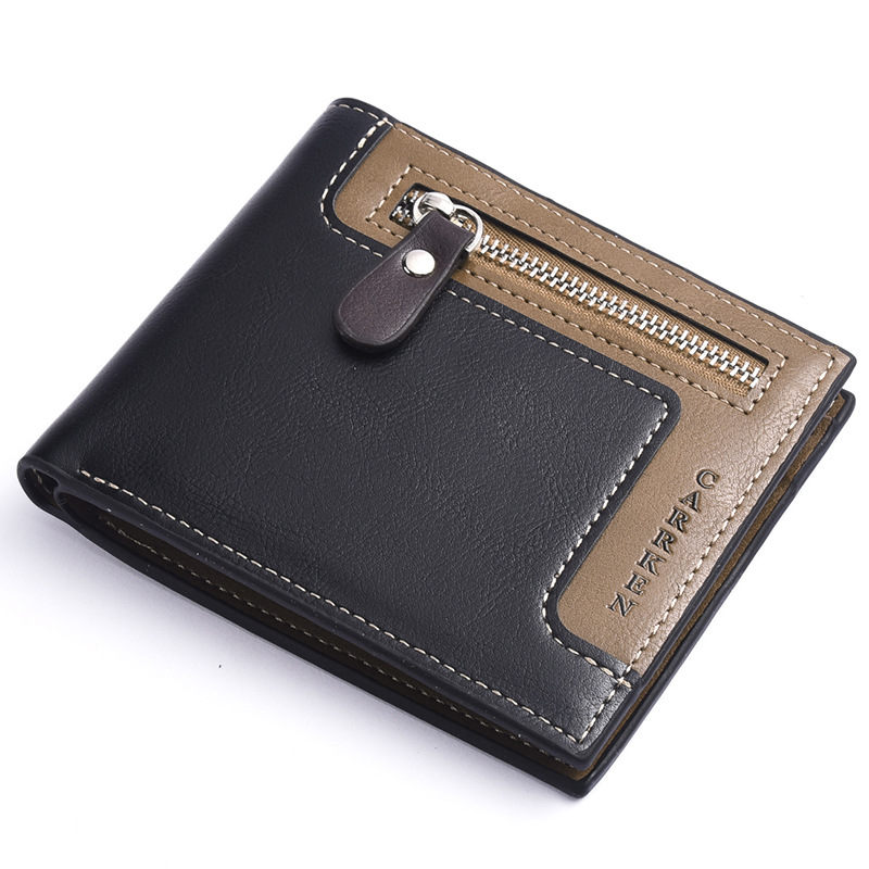 Hot Fashion Leather Men Wallet With Coin Pocket Wallet ID Card Holder Purse Clutch With Zipper Men Wallet Vintage Business Purse