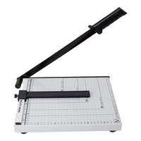 Foto lâmina afiada portátil seguro régua aparador de papel a4 aço preciso prático fácil operar escritório casa cortador|Cortador de papel| |  -