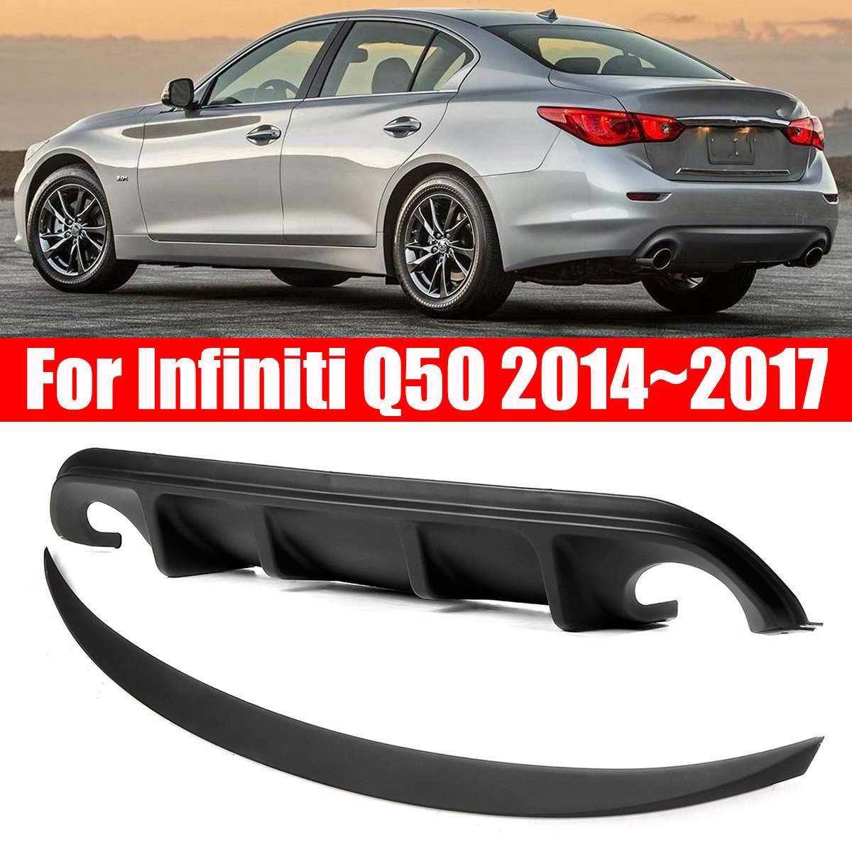 Otomobiller ve Motosikletler'ten Tamponlar'de 2 adet AQ tarzı arka tampon difüzör JDM stil bagaj Spoiler Infiniti Q50 2014 ~ 2017 title=
