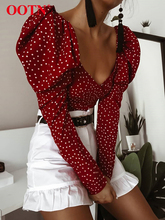 OOTN Vintage Polka Dot Women Puff Long Sleeve Wrap Top Elegant 2020 Lace Up Red Crop Top Blouse Sexy Backless Chic Female ShirtsBlouses & Shirts