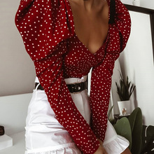 Female Shirts Wrap-Top Puff Blouse Sexy OOTN Lace-Up Long-Sleeve Backless Polka-Dot Chic