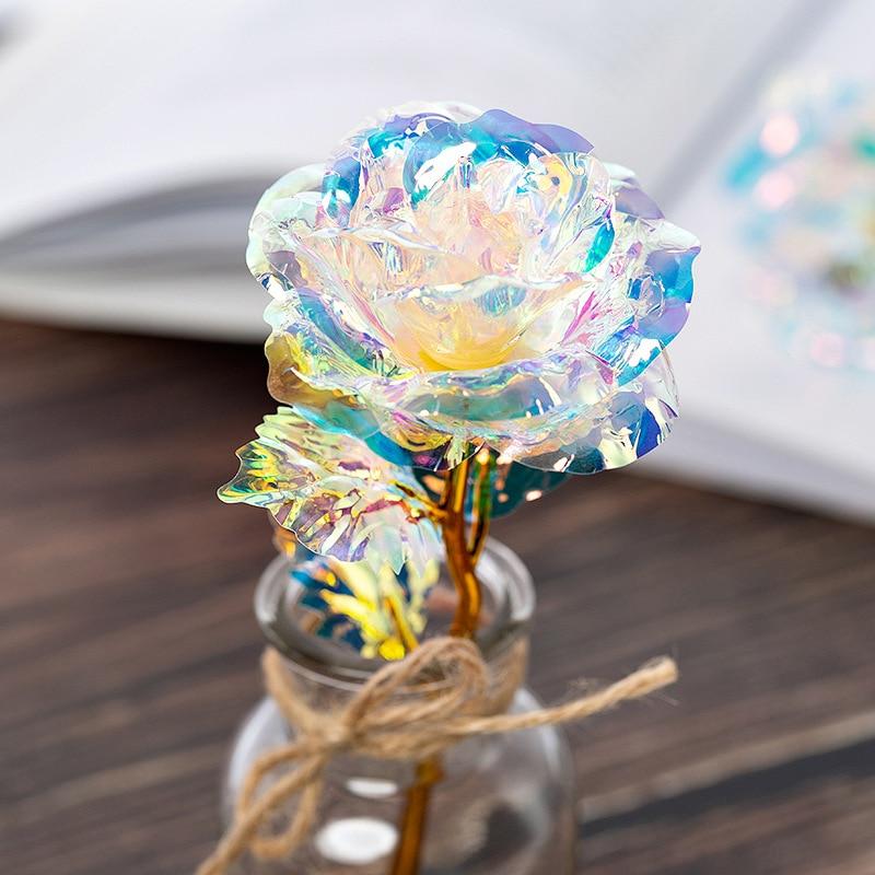2019 Fashion Colorful Fairy Rose Flower 24K Colorful Golden LED Rose Light Christmas Valentine Gift Home Decoration Decoration