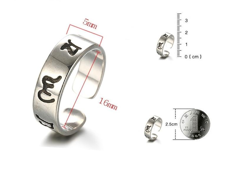 Vintage 925 prata esterlina tibetano bíblia thai prata anel aberto para homens feminino jóias presentes dropshipping S-R58