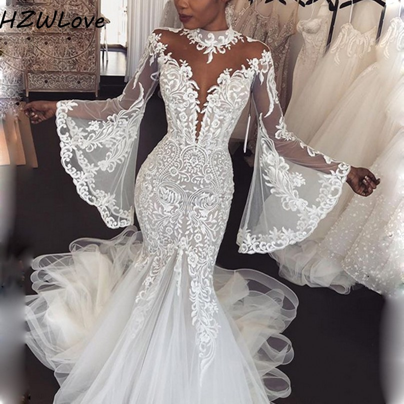 Dubai Arabic High Neck Mermaid Wedding Dresses With Sheer Neck High Neck Appliques Lace Full Sleeves Bridal Dress Vestido De Noiva