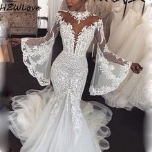 Dubai Arabic High Neck Mermaid Wedding Dresses With Sheer Appliques Lace Full Sleeves Bridal Dress vestido de noiva