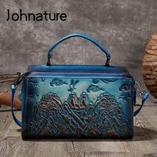 Johnature Handmade Retro Genuine Leather Luxury Handbags Women Bags 2020 New Landscape Leisure Cowhide Shoulder & Crossbody Bags