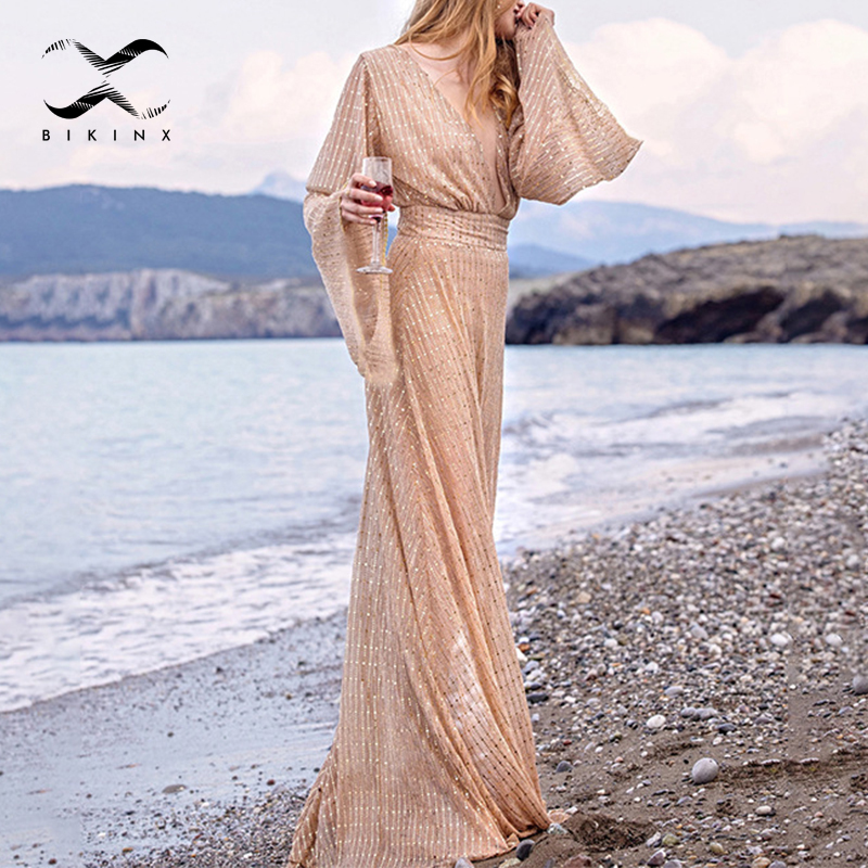 Transparent Cover-ups 2020 Deep V Neck Beach Wear Women Shiny Swimsuit Cover Up Female Long Beach Dress Summer Sexy Kimono New