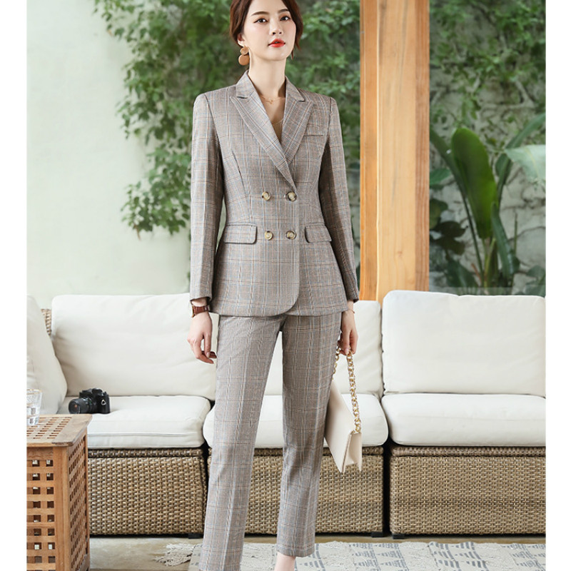 Winter New Business Professional Women's Suit Temperament Double-breasted Plaid Suit Jacket Female Slim Pants Suit Two-piece Set