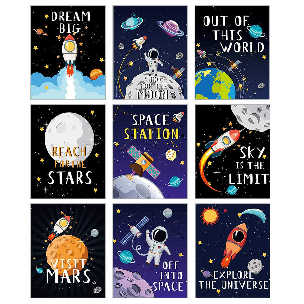 9pcs Outer Space Decoration Childrens Kindergarten Bedroom Poster Decoration Suitable For Boys Girls Room Decoration 20*25cm