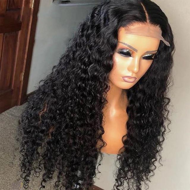 Perruques brésiliennes de fermeture de vague profonde perruques de cheveux humains de fermeture de dentelle pré plumées pour les femmes noires 150% perruques frontales de dentelle de vague profonde de Remy