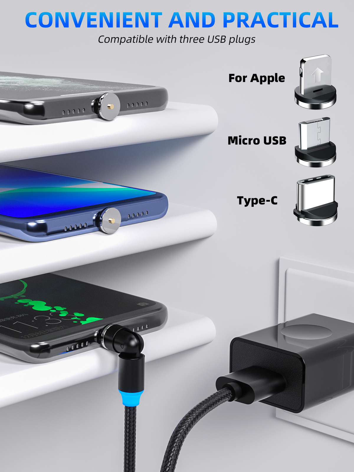 540 Degree Rotate Magnetic Cable