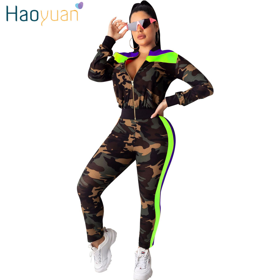 HAOYUAN Camouflage Two Piece Set Festival Clothing Crop Jackets Top Pant Sweat Suits Matching 2 Piece Outfits Women Tracksuit