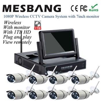 1080 P, беспроводная CCTV IP камера, комплекты, наружная 2MP система безопасности, wifi, ip-камера, 8ch NVR наборы, встроенный 1 ТБ HDD с монитором