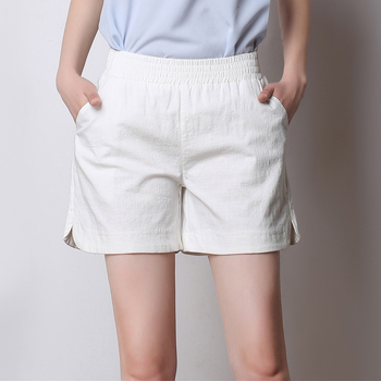 Oversized Women Summer Cotton Linen Shorts Casual Streetwear Ladies High Elastic Waist Loose Short Feminino Plus Size S-4XL
