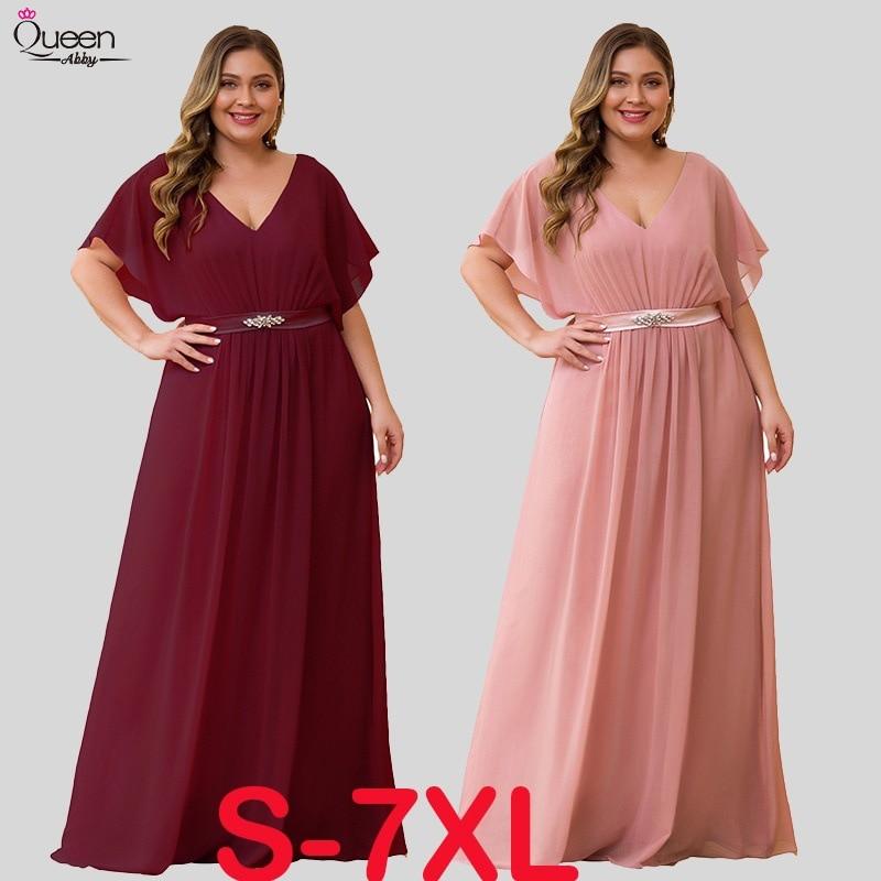 Pink   Bridesmaid     Dresses   Long A-line V-Neck Short Sleeve Wedding Party Gown Elegant Sash Beaded Chiffon Robe De Soiree Plus Size