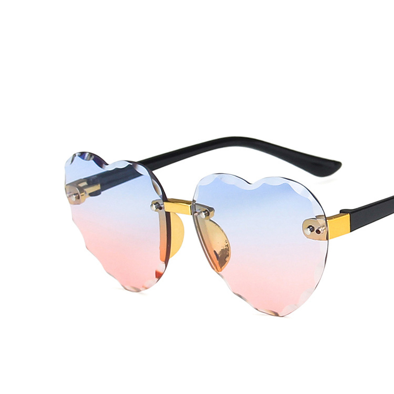Child Cute Heart Rimless Frame Sunglasses Children Kids Gray Pink Red Lens Fashion Boys Girls UV400 Protection Eyewear