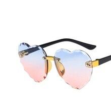 Child Cute Heart Rimless Frame Sunglasses Children Kids Gray