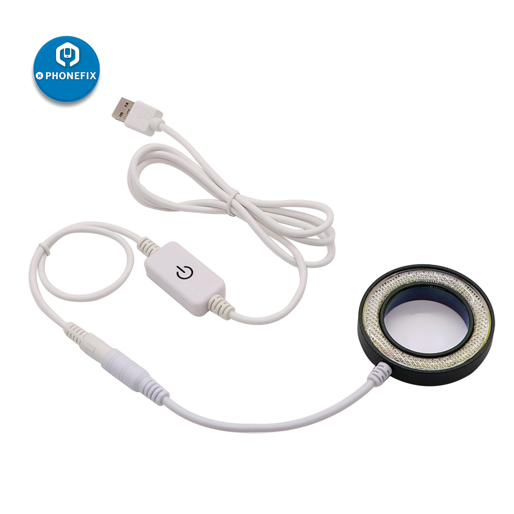 PHONEFIX SS-033C 2-IN-1 USB Adjustable Brightness LED Round Light With UV Oil Smoke Dust Proof Mirror For Microscope Dustproof