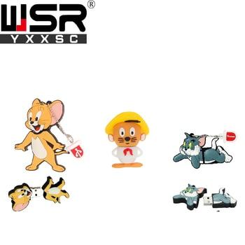 Wsryxxsc cartoon cat and mouse usb flash drive waterproof flash drive 64gb 32gb 16gb 8gb 4gb high speed u disk real capacity cute cartoon style high speed usb 2 0 flash drive disk yellowish orange light green 4gb