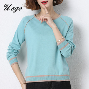 Uego 2020 Casual Sweater Women Pullover Sweaters Shirts Basic Tops Autumn Winter Knitted Sweater Office Lady Work Spring Sweater