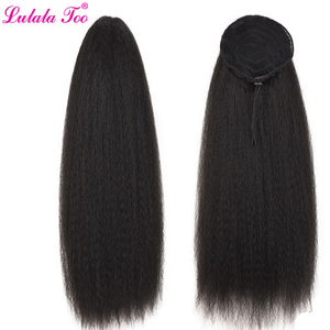 Image 5 - 22inch Drawstring Ponytail Synthetic Long Afro Kinky Straight Fake Ponytail Wig Hairpiece For Women Clip in Hair Extension