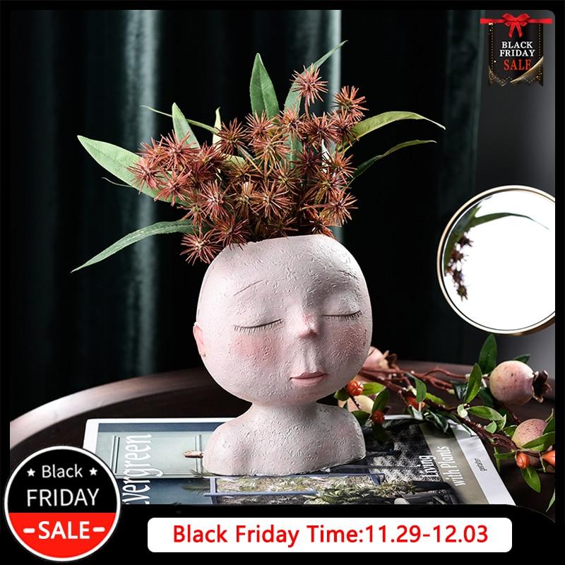 Nordic Human Head Vase Flower Pot Doll Shape Sculpture Resin Portrait Flower Pot Art Vase Home Decor Succulents Head Shape Vase