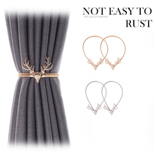 Elastic-Curtain Curtain-Buckle Silver Gold Simple Luxury Modern Elk No Rope with Light