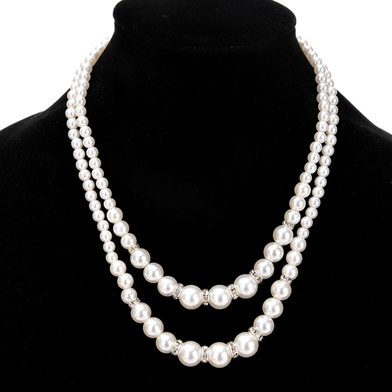 Artificial Pearl Necklace for Women Wedding Bridal Necklace Ladies Luxury Crystals Pearl Pendant Necklaces Collar Gifts