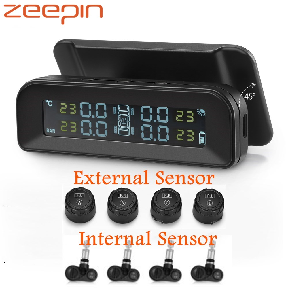 ZEEPIN C260 TPMS Solar Power LCD Display Tire Pressure Monitoring System With 4 External/Internal Tyre Pressure Sensor