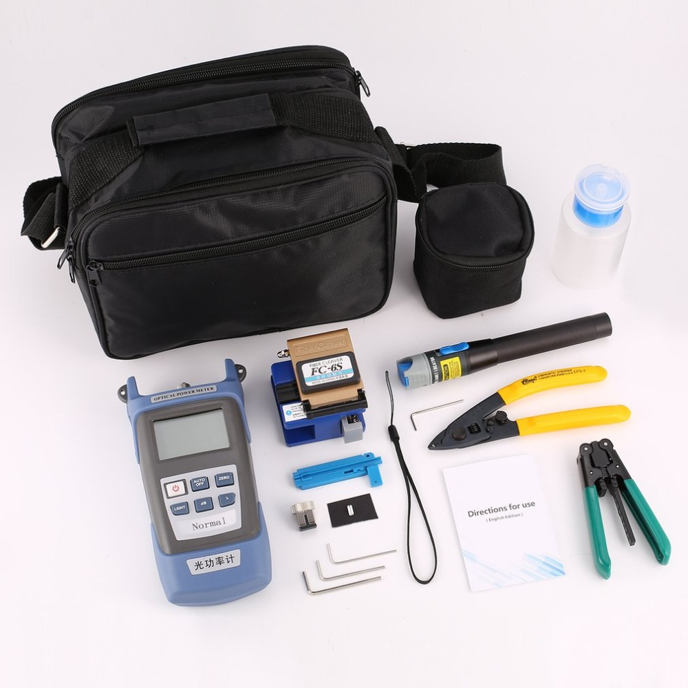 FTTH Fiber Optic Tool Kit Fiber Cleaver FC-6S Optical Power Meter Cable Wire Stripper Visual Fault Locator 5mW