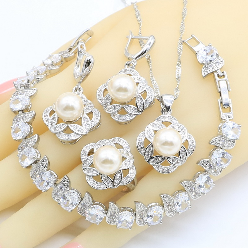Rings Necklace Jewelry-Sets Pendant Zircon Pearl 925-Silver White Women Pink for Gift-Box