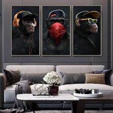 Graffiti e graffiti moderno, pintura de padrão de três macacos, pintura em tela, sala de estar, residência, decoração de parede