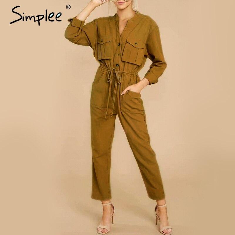 Simplee Cargo Cotton Linen Women Jumpsuit Romper Elegant Long Sleeve Lace Up Female Long Jumpsuit Button V-neck Pockets Overalls