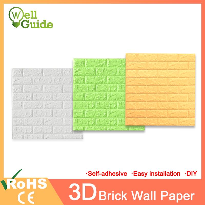 3D Wall Paper Brick Marble Waterproof Wall Paper 3D Wallpaper  Decor For Bedroom Kids Room Living Room DIY Self-Adhesive Paper